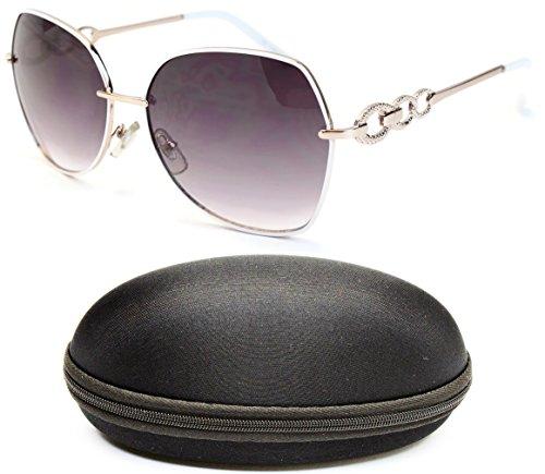 D678-cc Designer Eyewear Polygon Butterfly Sunglasses (O2668B White/Gold-Smoked, - Gold Sunglasses White