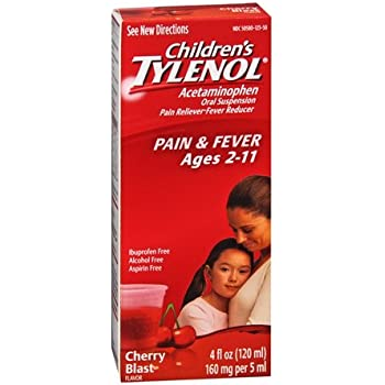 Tylenol Children's Pain Reliever/fever Reducer Oral Suspension Liquid, Cherry Flavor 4 Oz (Pack of 2)