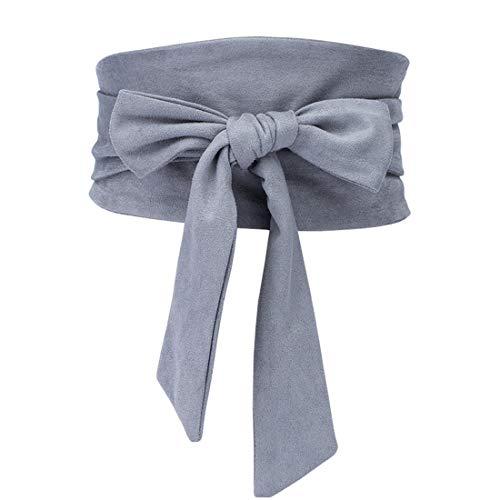 (shengweiao Women's Self Tie Wrap Around Obi Soft Wide Waist Band Cinch Boho Dress Belt (Gray, Fit to waistline 26.7