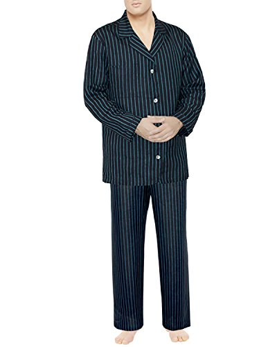 Alfi collection, Linen Pajama Set, Size Large, Charcoal-Striped Blue - Collection Armani New