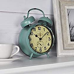 FirsTime & Co. 25681 Firstime Teal Double Bell Alarm Tabletop Clock, 5 in. by 7 in. in, Aged