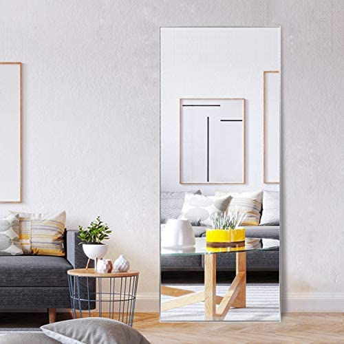 MAYEERTY Rectangle Wall-Mounted Mirror Large Full Length Dressing Mirror Bedroom Aluminum Alloy Frame Floor Mirror Hanging Leaning Against Wall 59″x20″