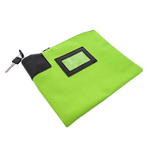 BISupply | Locking Money Bag Locking Pouch Zipper Bank Bag with Lock Locking Cash Bag Lock Pouch Lock Bag in Green (Money Bags That Lock)
