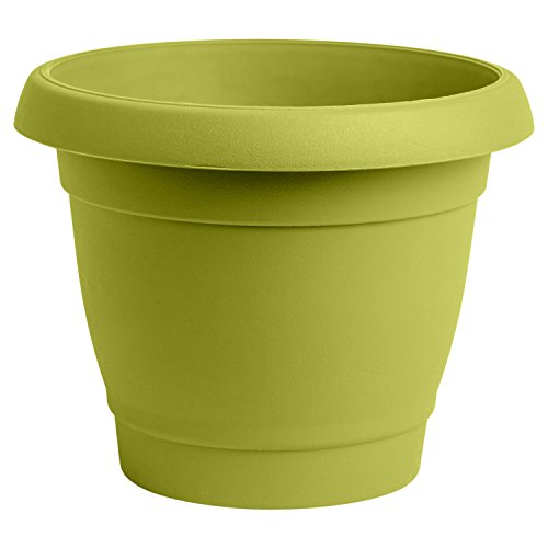 Almi 9-inch Planter Plastic Garden Flower Pot, Lime Green