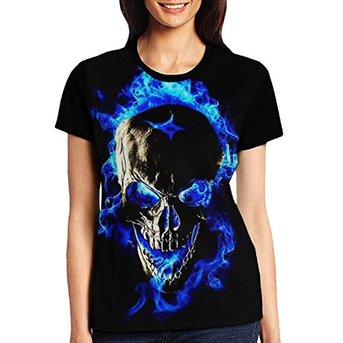 Yonjiq Blue Flame Skull Fire T Shirts Short Sleeve Top Tees for Women Girls