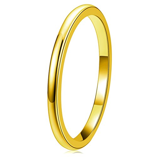 THREE KEYS JEWELRY 2mm Tungsten Carbide Wedding Ring for Women Wedding Band Engagement Ring Comfort Fit Dome Classy 24K Gold Plated Size 6