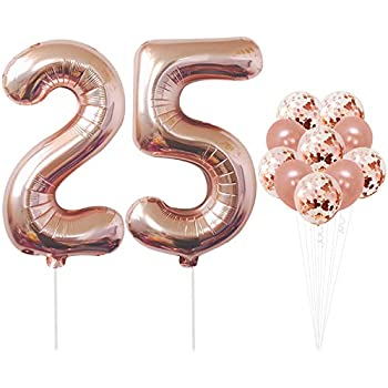 Rose Gold 25th Birthday Decorations Pack Of 12