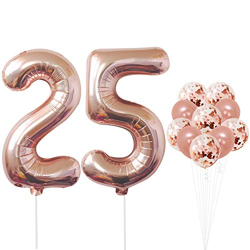 Rose Gold 25th Birthday Decorations - Pack of 12 | Large Mylar Foil Balloon and Confetti Latex Balloons | Real Rose Gold Party Supplies | Great for 25 Years Wedding -