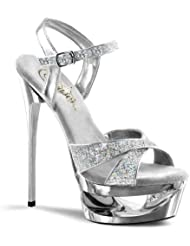 Pleaser ECLIPSE-619G 6 1/2 H,1 3/4 Cut-Out PF Criss-Cross Ankle Strap Sandal