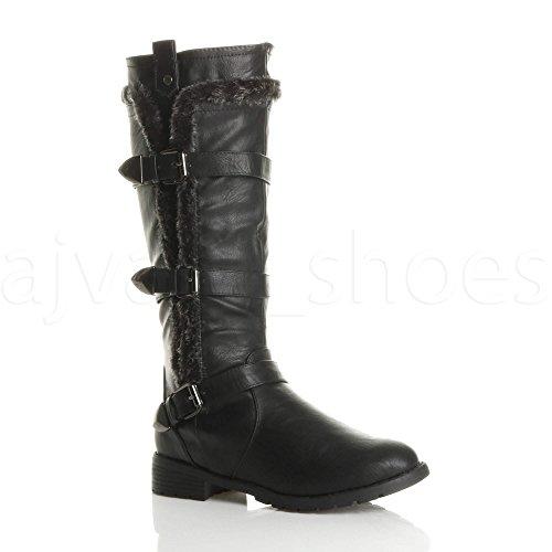 Ajvani Womens ladies low heel flat fur lining zip biker winter military calf knee boots size Black QGbO5PdZn