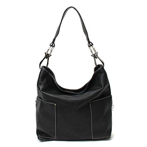 Americana Bucket Style Hobo Shoulder Bag with Big Snap Hook Hardware and Side Zipper Pocket ()