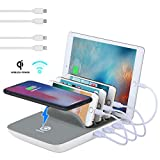 Fast Charging Station, Compatible for Samsung, iPhone, ipad TopTops 5-in-1 Multiple Phone Dock Stand with 4 USB Ports and 1 QI Wireless Charging Pad with 4 Cables(Grey)