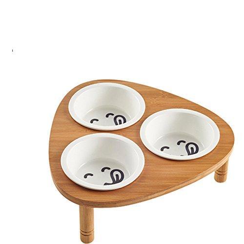 Perro Bowl Tazón De Fuente Doble Cerámica Bambú Madera Comedor Mesa De Acero Inoxidable-T