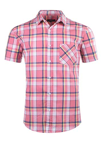 AVANZADA Mens Plaid Short Sleeve Button Down Shirts Standard-Fit Slim Fit Work Casual Western Dress Shirts for Men Pink-XL (Pink Plaid Western Shirt)