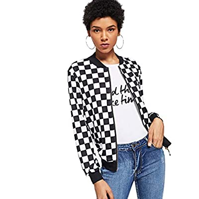 WDIRARA Women's Zip Front Plaid Print Long Sleeve Stand Collar Casual Jacket: Clothing