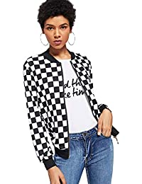 Women's Zip Front Plaid Print Long Sleeve Stand Collar Casual Jacket