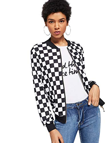 WDIRARA Women's Zip Front Plaid Print Long Sleeve Stand Collar Casual Jacket Black and White M