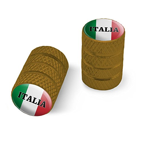 オートバイ自転車バイクタイヤリムホイールアルミバルブステムキャップ - ゴールドイタリアイタリアイタリアの旗