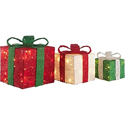 Image Unavailable. Image not available for. Colour: Set of 3 Light Up  Christmas Gift Boxes - Set Of 3 Light Up Christmas Gift Boxes: Amazon.co.uk: Kitchen & Home