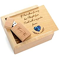 Maple USB 2.0 Flash Drive - Inserted into a Engraved Matching Box with Raffia grass inside. Laser Engraved Garden Design! (16GB)