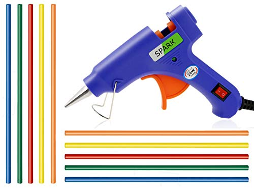 GLUN 7 mm Hot Melt Glue Gun with on off Switch and LED Indicator and Set of 10 Fluorescent Coloured Glue Sticks (20W)