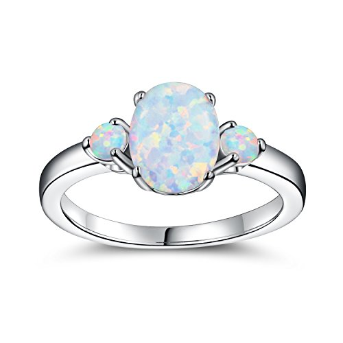 Oval Anniversary Ring Setting (OPALTOP 18K White Gold Plated Created Oval 7x9 Opal Ring For Women (9))