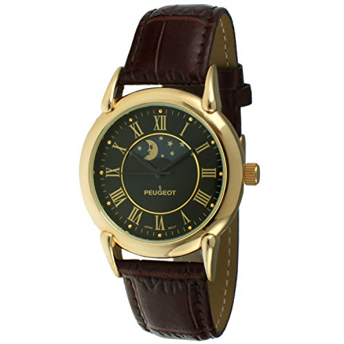Peugeot Men's '14k Gold Plated' Quartz Metal and Leather Dress Watch, Color:Brown (Model: 3032BK) (Plated Wrist Watch Leather Gold)