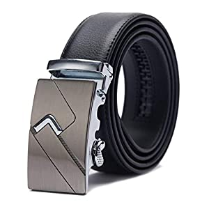 TANGCHAO Men's Leather Belt Automatic Buckle Ratchet Men's Belt Quality Upgrade 35mm Wide Black 115-145cm