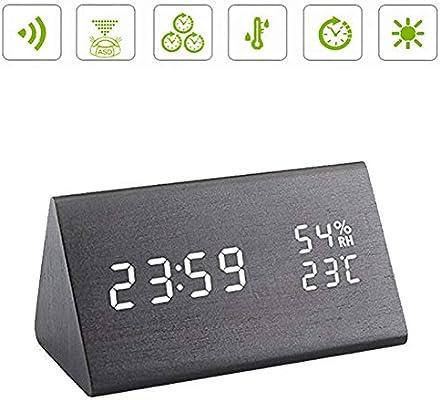 Hansemay Reloj de Alarma Digital de Madera, LED Reloj de Mesa ...