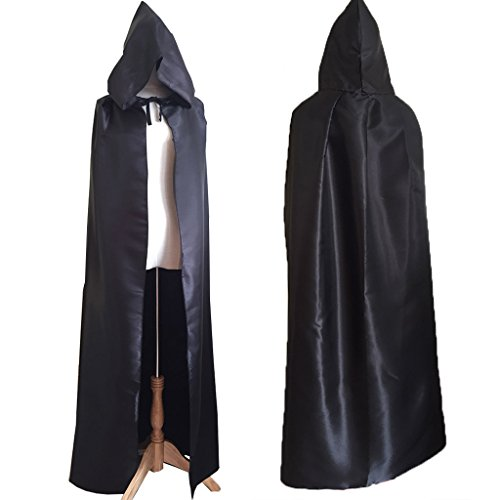 Charming House Halloween Unisex Hooded Long Cape Cloak Cosplay Costume (Black) by Charming House (Image #1)