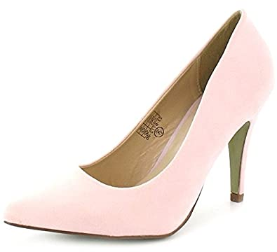 womens pale pink mid heel pointed toe court shoes