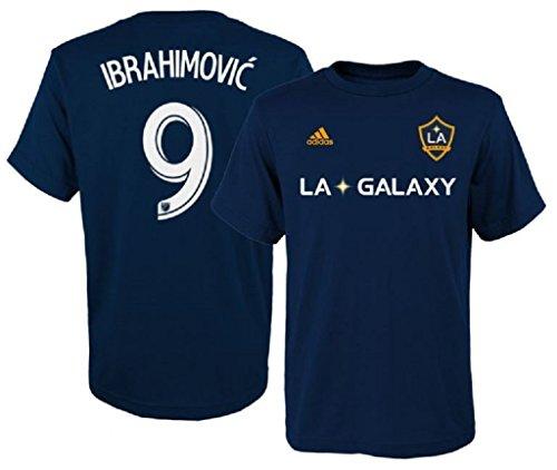 adidas Zlatan Ibrahimovic LA Galaxy #9 Youth Player T-Shirt Navy (Youth Medium (Adidas Soccer T-shirt)