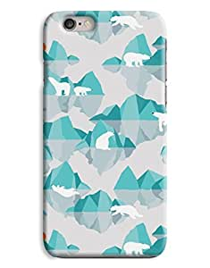 Digital Polar Bear blue Ice Design iPhone 6 Plus Hard Case Cover