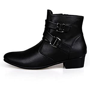 XIAFEN Men's Winter&Spring Fashion Boot With Ankle Buckle Straps High Top Dress Boots