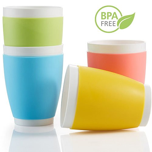BPA-Free Tumbler Cup for Drinking, Microwave and Dishwasher Safe Tumblers, 4 Cups ()