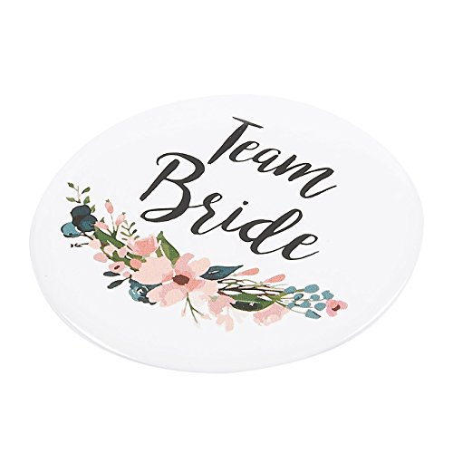 16 Pack - Bridal Party Pins - Wedding Party Buttons - Bridesmaid Gifts, Favors & Gifts, Team Bride, Maid of Honor Party Supplies, White, 8 Unique Designs