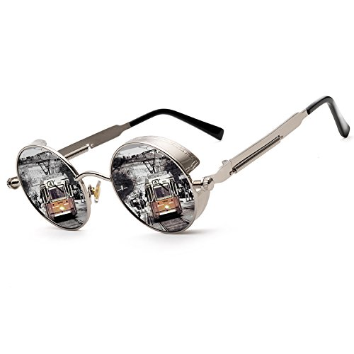 ZOGEEN Polarized Steampunk Round Sunglasses for Men Women Mirrored Lens Metal Frame S2671 (Silver Mirror)