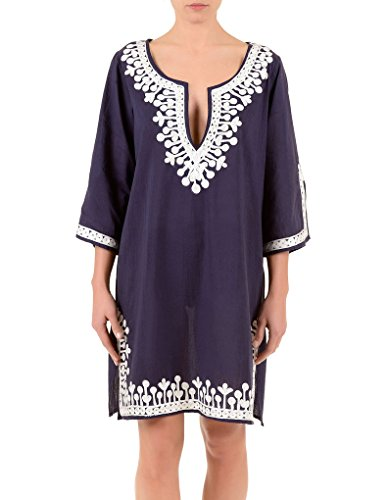 Iconique IC7-095 Women's Dark Blue and White Embroidered Kaftan