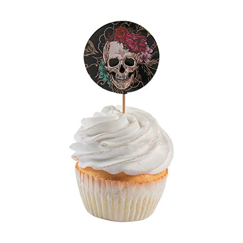 (Fun Express - Spooky Floral Cupcake Picks (25pc) for Halloween - Party Supplies - Serveware & Barware - Picks & Stirrers & Parasols - Halloween - 25)