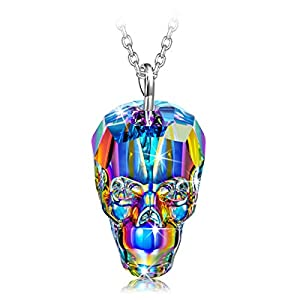NINASUN Halloween Gifts 925 Sterling Silver Skull Pendant Necklace Made with Swarovski Crystals