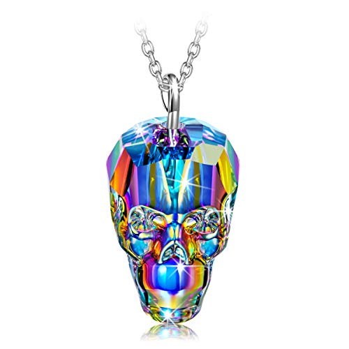 (NINASUN Mothers Day Necklace Gifts Skull Novelty Necklace for Women 925 Sterling Silver Pendant Swarovski Crystals Fashion Costume Jewelry Present Ladies Girls Girlfriend Wife Sister Mother Friend)