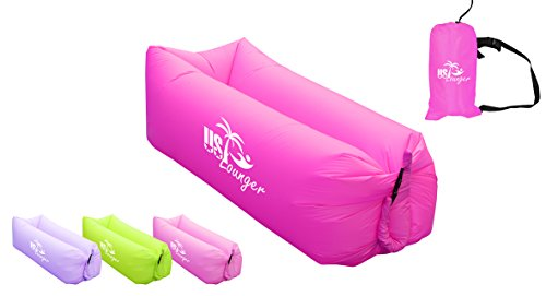 US Lounger Scarlet Fast Inflatable Portable Outdoor or Indoor Wind Bed Lounger, Air Bag Sofa, Air Sleeping Sofa Couch, Lazy Bed for Camping, Beach, Park, Backyard