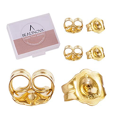 BEADNOVA 14k Yellow Gold Earring Backs Butterfly Gold Earrings Backs Replacements for Post Earrings Studs Earrings Back Push Backing Replacements Ear Locking (6 Pieces) ()
