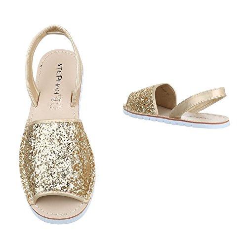 Ital-Design Women's Roman sandals Gold 9zVRT12s