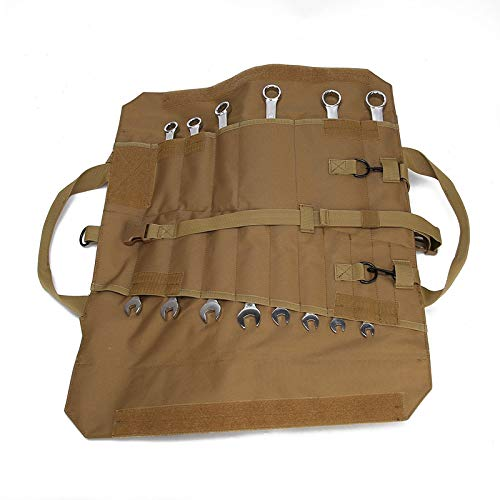 Wrench Roll Up Pouch Tools Organizer Bag Super Storage with 23 pockets (Tan) by Garry Tactical (Image #5)