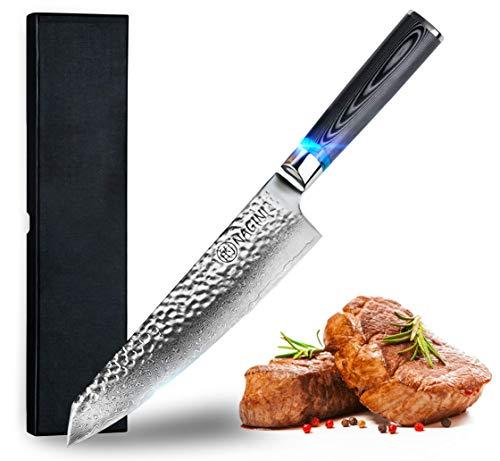 Nagini Premium Damastmesser Küchenmesser, Japanisches Kochmesser - Enorm scharfes Santokumesser aus Damast, Profi Santoku Messer