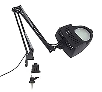 Clamp on Swing Arm Lighted Magnifying Lamp Hobby Work Desk Table