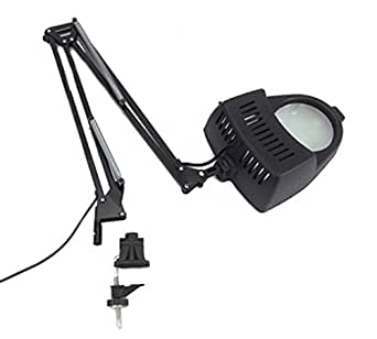 Clamp On Swing Arm Lighted Magnifying Lamp Hobby Work Desk