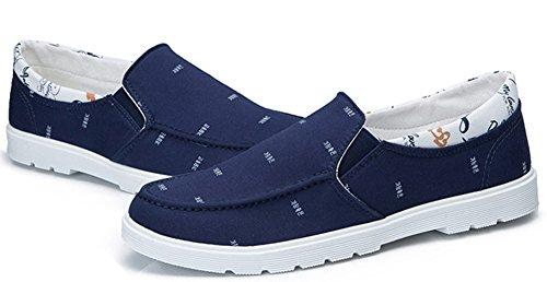 Idifu Mens Casual Low Top Slip On Mocassini Scarpe Tacco Piatto Chiuse Punta Rotonda Blu Scuro