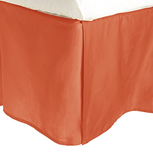 100% Premium Combed Cotton, 300 Thread Count Soft & Smooth Pleated Bed Skirt with 15' Drop, Twin, Solid Pumpkin